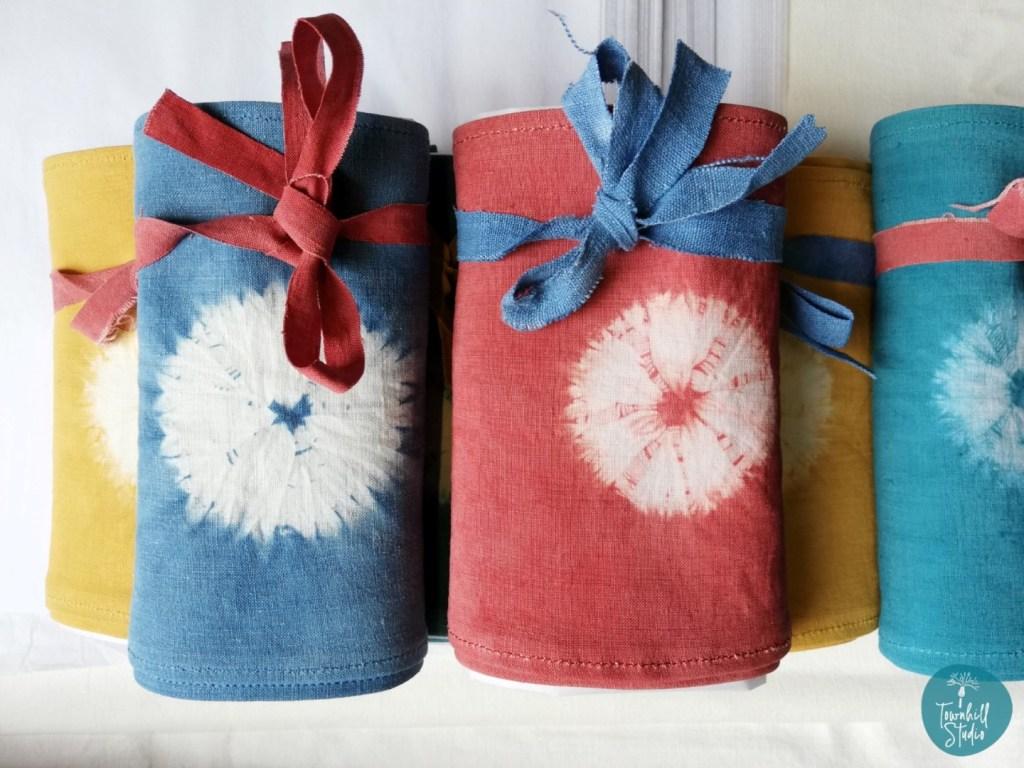 folded linen shibori scarves