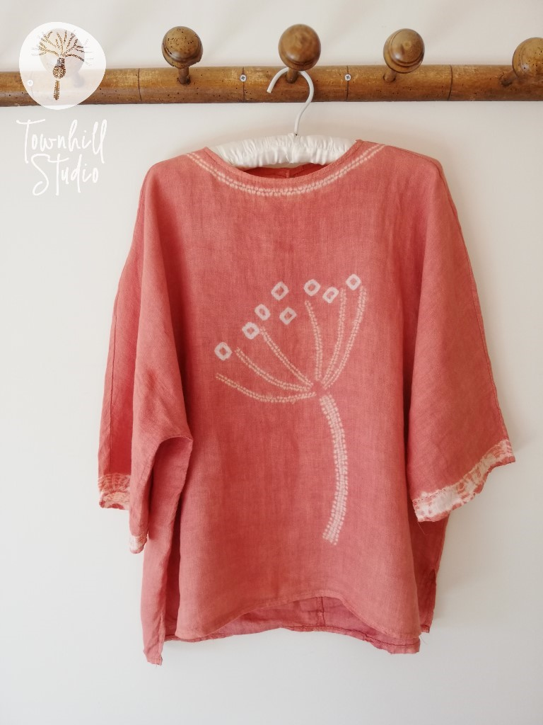 madder dyed linen top with shibori pattern