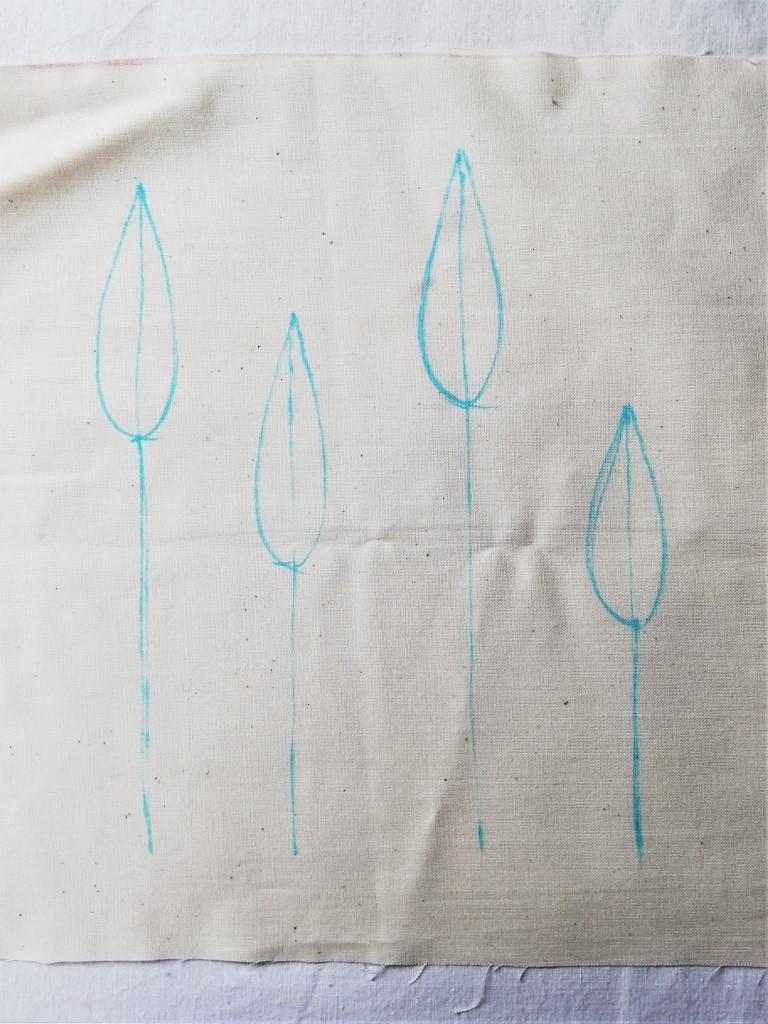 shibori grass spears drawing