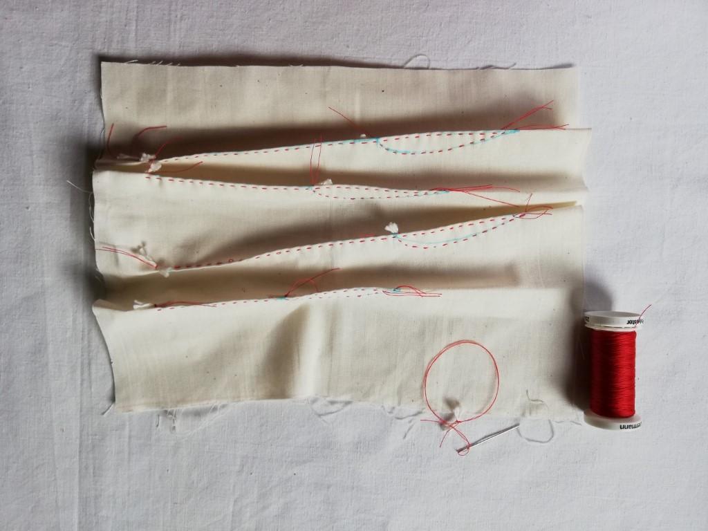 Stitched shibori grass spears design