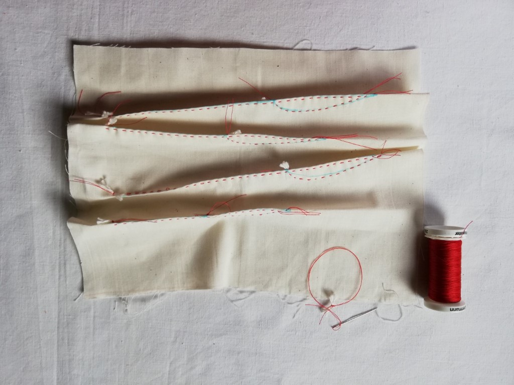 Stitched shibori grass spears design