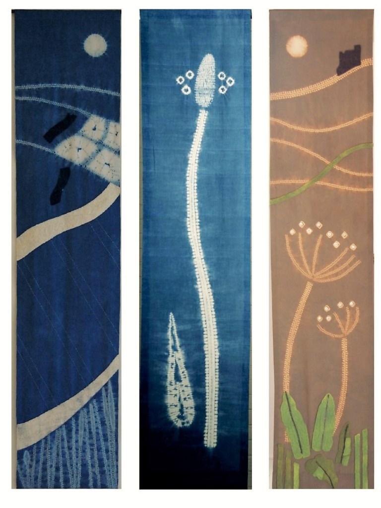 shibori landscape textile hangings
