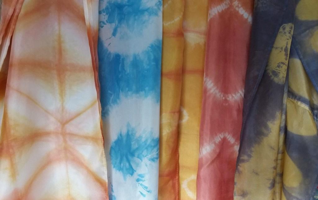 shibori silk scarves collection