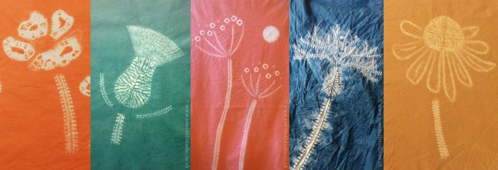 shibori stitch resist flowers