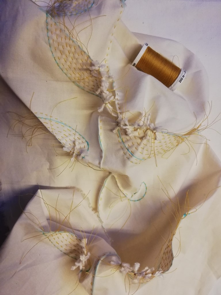 shibori stitching of leaves