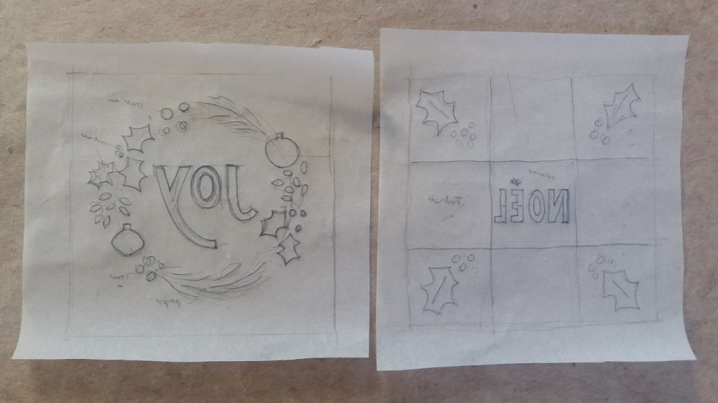 sketch for collagraph Christmas cards