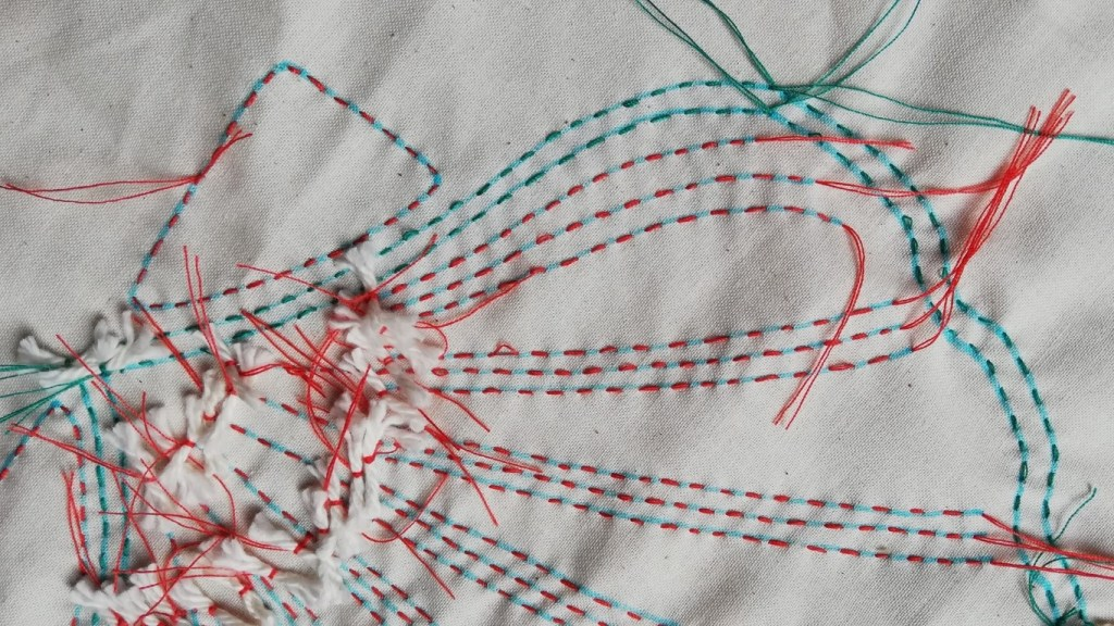 Showing using two different colour threads for complicated patterns