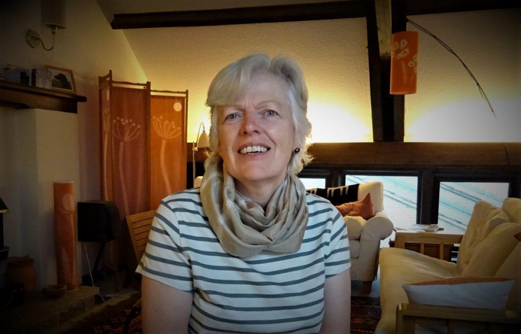 wearing the silk scarf