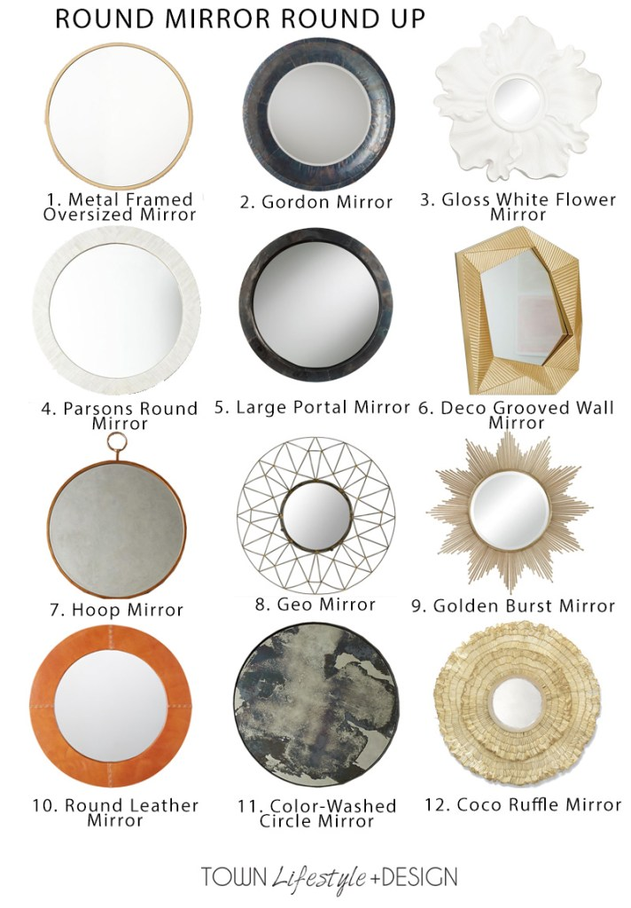 Round Mirror Round Up: 12 of My Favorites || Town Lifestyle + Design || Doing some online shopping and looking for an interesting mirror? Find 12 of my Designer favorites for any interior design style.