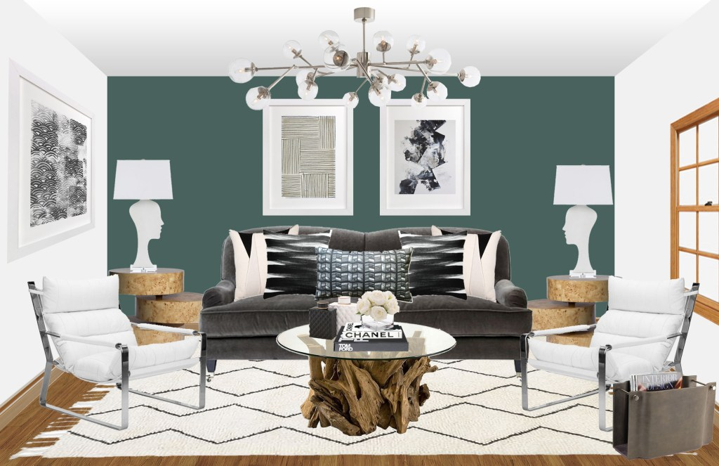 I have a fun Get This Look for you today! It is definitely on trend with the Mid Century design vibes you've been seeing lately with a bit of a twist. What was fun about this project is I really got to mix high and low pieces. What that means is there are a few more pricier pieces blended in with more reasonable ones. I bet you can't tell one from the other though. This client had a somewhat traditional base in their new home with soft grey walls, lots of white molding and dark hardwood floors. Not a typical backdrop for someone wanting a Mid Century design. They wanted this space to feel comfortable and casual with a few pieces that weren't quite so expected. Adding a little bit of a 'Funk' factor. I N S P I R A T I O N With modern day Mid Century Design majorly trending right now, inspiration photos are not too hard to come by. When I think Mid Century design or when my clients mention wanting that look in their own homes I like to take more of an eclectic approach then a minimalistic one. I like to mix warm and dark wood tones, different textures and materials and bring in some fun patterns and colors. This gives it a more comfortable and homey vibe as well as from a sourcing perspective, being able to mix quality products as well as stylish ones. Mid Century style furniture tends to be smaller in scale, which doesn't always work with large living spaces like the one for this client. I really looked at inspiration photos for mixing textures and arm styles, and how to bring in the elements and style the client wanted while still using properly scaled and designed furnishings for the room. Get This Look: #projectmidcenturyfunk || Town Lifestyle + Design || Get the look of this Mid Century inspired E-design Living Room. A great eclectic mix of pattern and texture. Image Source via House of Hipsters Get This Look: #projectmidcenturyfunk || Town Lifestyle + Design || Get the look of this Mid Century inspired E-design Living Room. A great eclectic mix of pattern and texture. Image Source via Apartment Therapy Get This Look: #projectmidcenturyfunk || Town Lifestyle + Design || Get the look of this Mid Century inspired E-design Living Room. A great eclectic mix of pattern and texture. Image Source via The Glitter Guide L I V I N G R O O M Since I really wanted to play with textures and tones in this space, I landed on a leather sofa. Im obsessed with leather, but typically only like it as an accent. In this case, we made it the center piece for the design. A lighter and fun pattern in the rug plays well with the warmth of the leather, while contrasting with the dark wood floors. I brought in just a little bit of that 'Funk' factor the client was looking for with colorful pillows and lamps. We really wanted to make this space warm and inviting. It may not be your traditional Mid Century Design, but the details definitely play into this style that the client was looking for. Below you will find the product images and links to purchase. Get This Look: #projectmidcenturyfunk || Town Lifestyle + Design || Get the look of this Mid Century inspired E-design Living Room. A great eclectic mix of pattern and texture. Get This Look: #projectmidcenturyfunk || Town Lifestyle + Design || Get the look of this Mid Century inspired E-design Living Room. A great eclectic mix of pattern and texture.1. Sofa | 2. Side Table | 3. Mirror | 4. Green Geo Pillow | 5. Pink Pillow | 6. Black + White Pillow | 7. Drapery | 8. Coffee Table | 9. Occasional Chair | 10. Rug | 11. Pouf | 12. Table Lamp | 13. Accessory - Blue Vase | 14. Accessory - Candle Holder | 15. Accessory - Gold Vase | 16. Faux Cactus | 17. Media Console If you're looking for interior design services, but not in the San Antonio/South Austin area, be sure to check out my services page. With e-design you will receive a concept board much like the one above, a complete shopping list, and tips on how to install, style + accessorize.