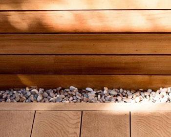 Garden decking with stones