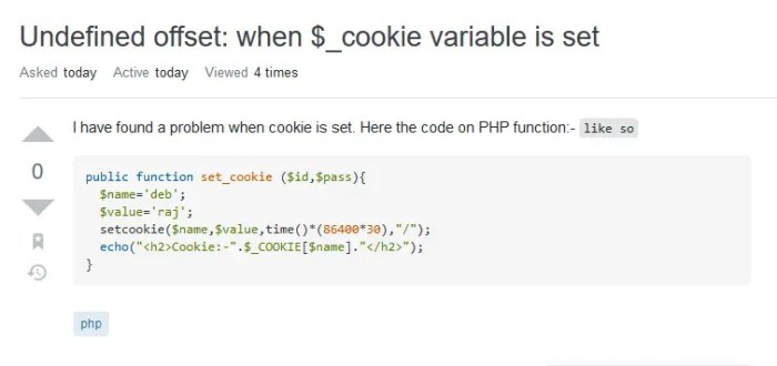 Screenshot of PHP question from Stack OVerflow