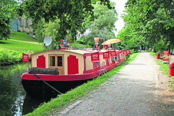 An ice cream boat on the Leeds & Liverpool Canal.