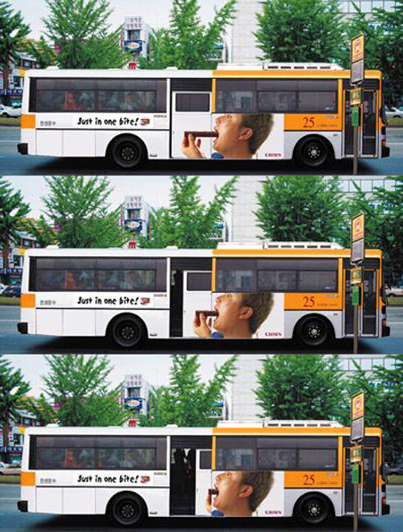 Just in One Bite Bus Advertisement