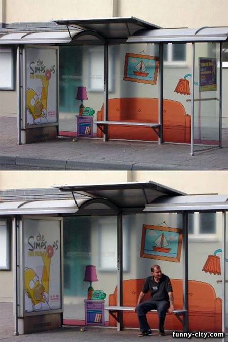 Simpsons Bus Stop Advertisement
