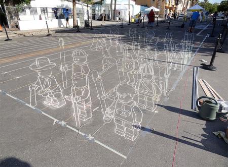 LEGO Chalk Drawing