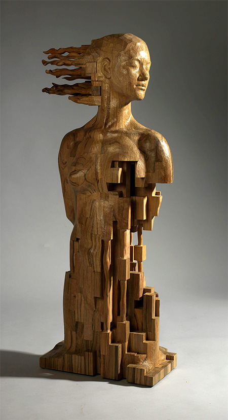 Pixelated Wooden Sculptures