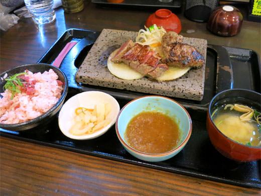 動画有 石焼きステーキ 贅 富山西店 溶岩石で焼く柔らかお肉と梅ご飯