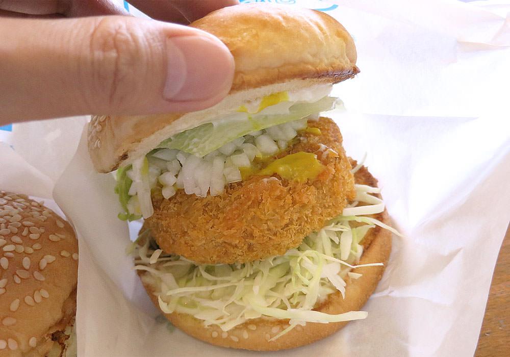 はんばーがーかふぇ ほおずき 枝豆コロッケのばんころバーガー