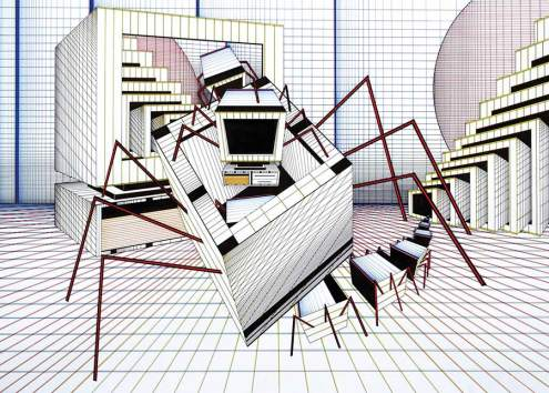 Painting - Escape of Computer Spider - Toyism Art Movement