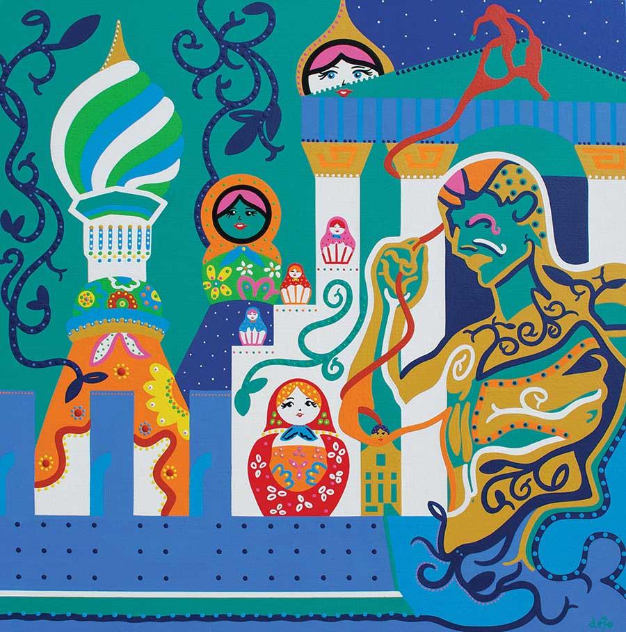 Schilderij - Het Paleizen Rijk - Toyisme. Hedendaagse kunst online kopen.