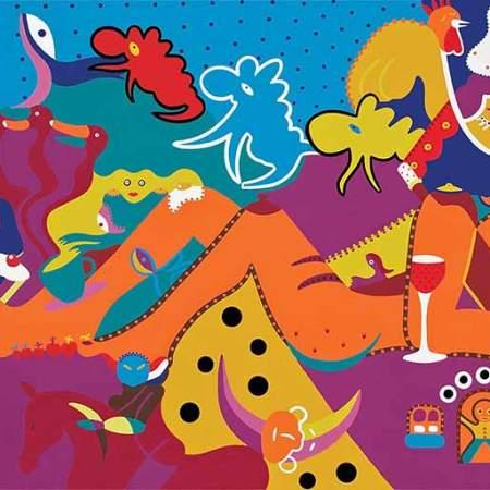 Schilderij - Dromen Ontbijt Schilderij - Toyisme. Hedendaagse kunst online kopen.