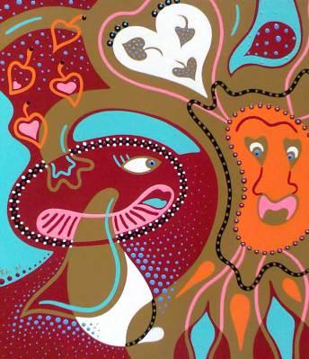 Schilderij - Herfstliefde - Toyisme. Hedendaagse kunst online kopen.