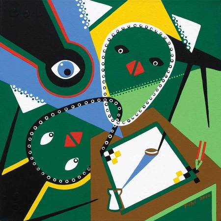 Schilderij - Ontmoeting Tegenstellingen - Toyisme. Hedendaagse kunst online kopen.