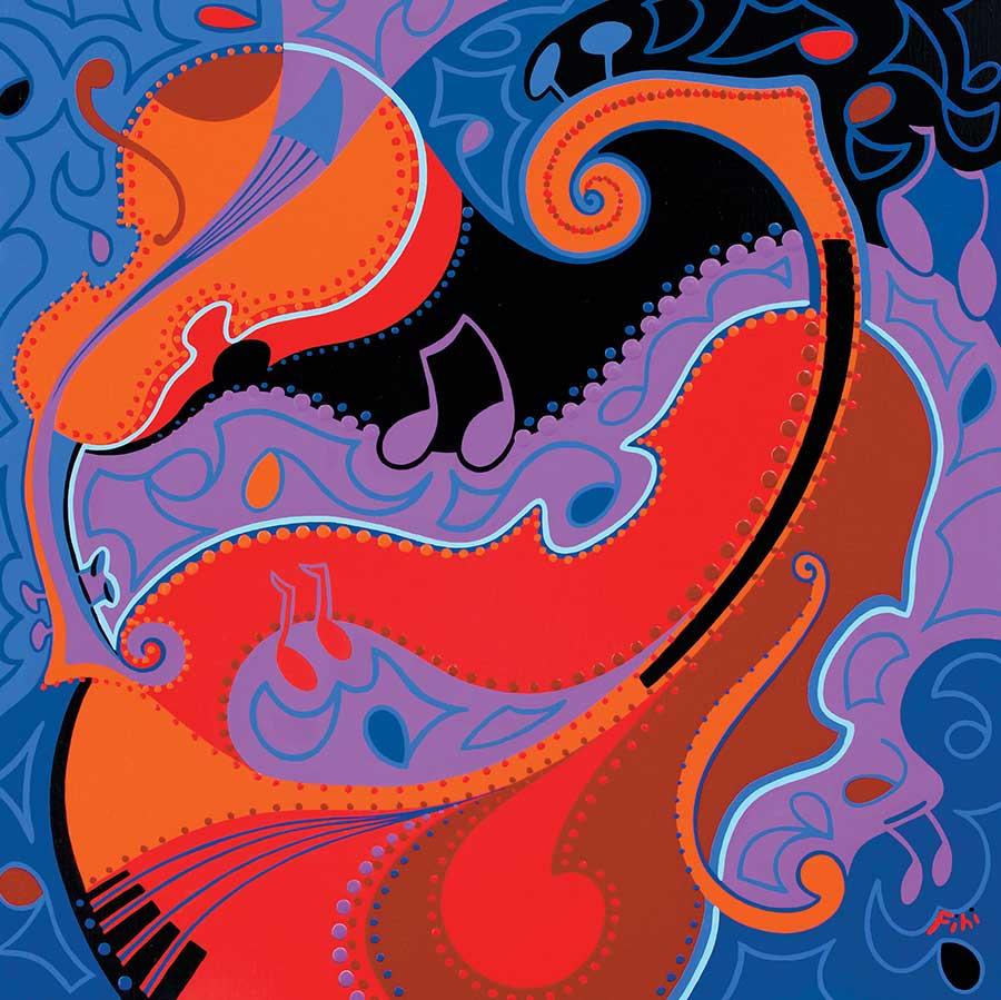 Schilderij - Muziek Innerlijk Oor - Toyisme. Hedendaagse kunst online kopen.