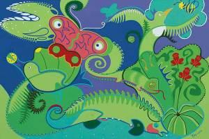 Schilderij - Natuur Slaat Hol - Toyisme. Hedendaagse kunst online kopen.