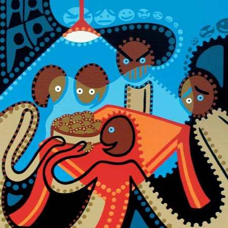 Kunstdruk - De Aardappeleters - Toyisme. Kunst te koop. Koop kleurrijke kunstdruk online.