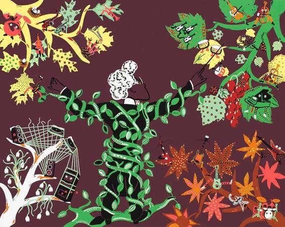 Zeefdruk - Grafiek - Vier Jaargetijden Vivaldi Zeefdruk - Toyisme. Kunst te koop. Koop kleurrijke kunstdruk online.