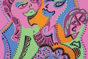 Zeefdruk - Grafiek - Dames Kapsels Zeefdruk - Toyisme. Kunst te koop. Koop kleurrijke kunstdruk online.