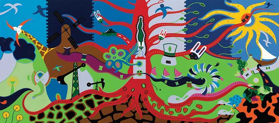 Zeefdruk - Grafiek - Leven Energie Zeefdruk - Toyisme. Kunst te koop. Koop kleurrijke kunstdruk online.