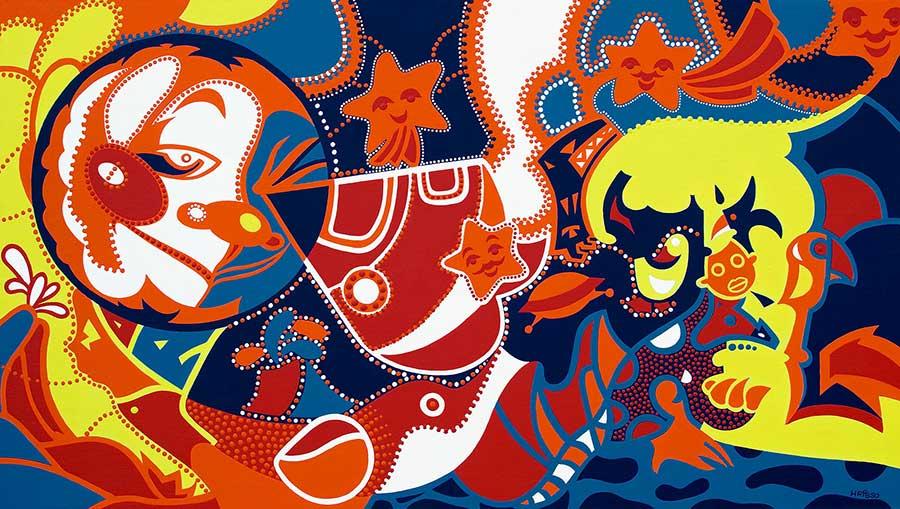 Schilderij - Reis Maan - Toyisme. Hedendaagse kunst online kopen.