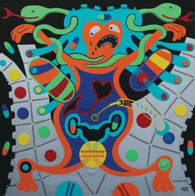 Schilderij - Lijfjagers - Toyisme. Hedendaagse kunst online kopen.