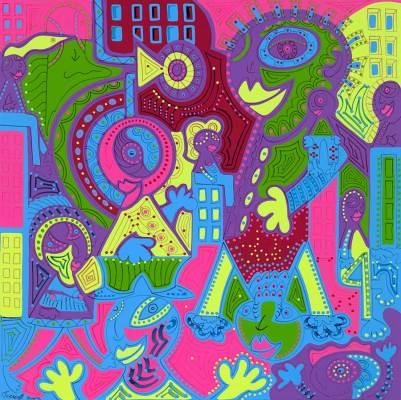 Schilderij - Liefde Grote Stad - Toyisme.