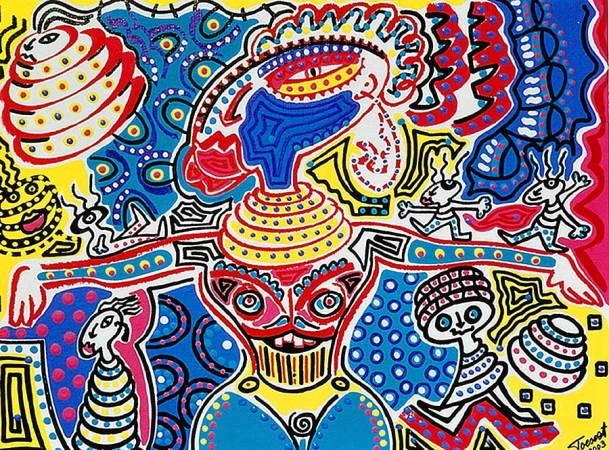 Schilderij - Wereld Langnekstam - Toyisme. Hedendaagse kunst online kopen.
