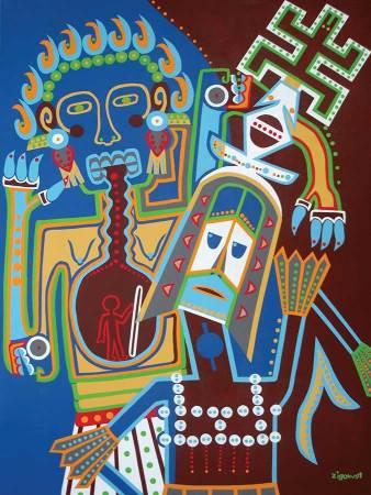 Schilderij - Twee Gemaskerde Dansers - Toyisme. Hedendaagse kunst online kopen.