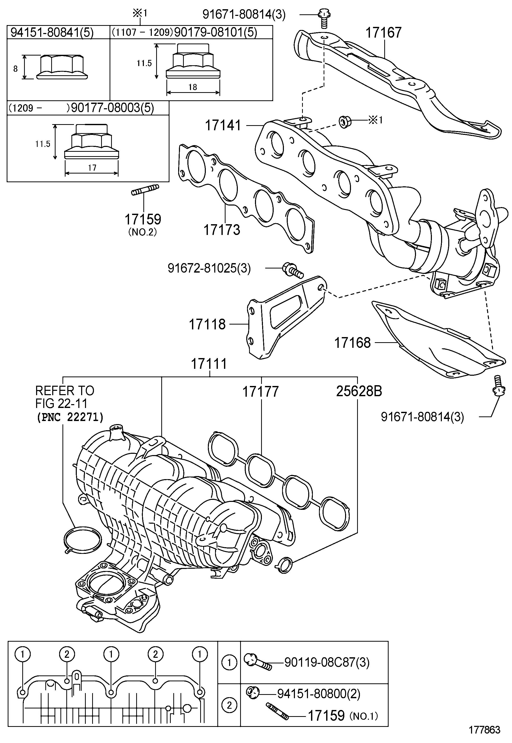 Toyota Prius Gasket Exhaust Manifold To Head Valve