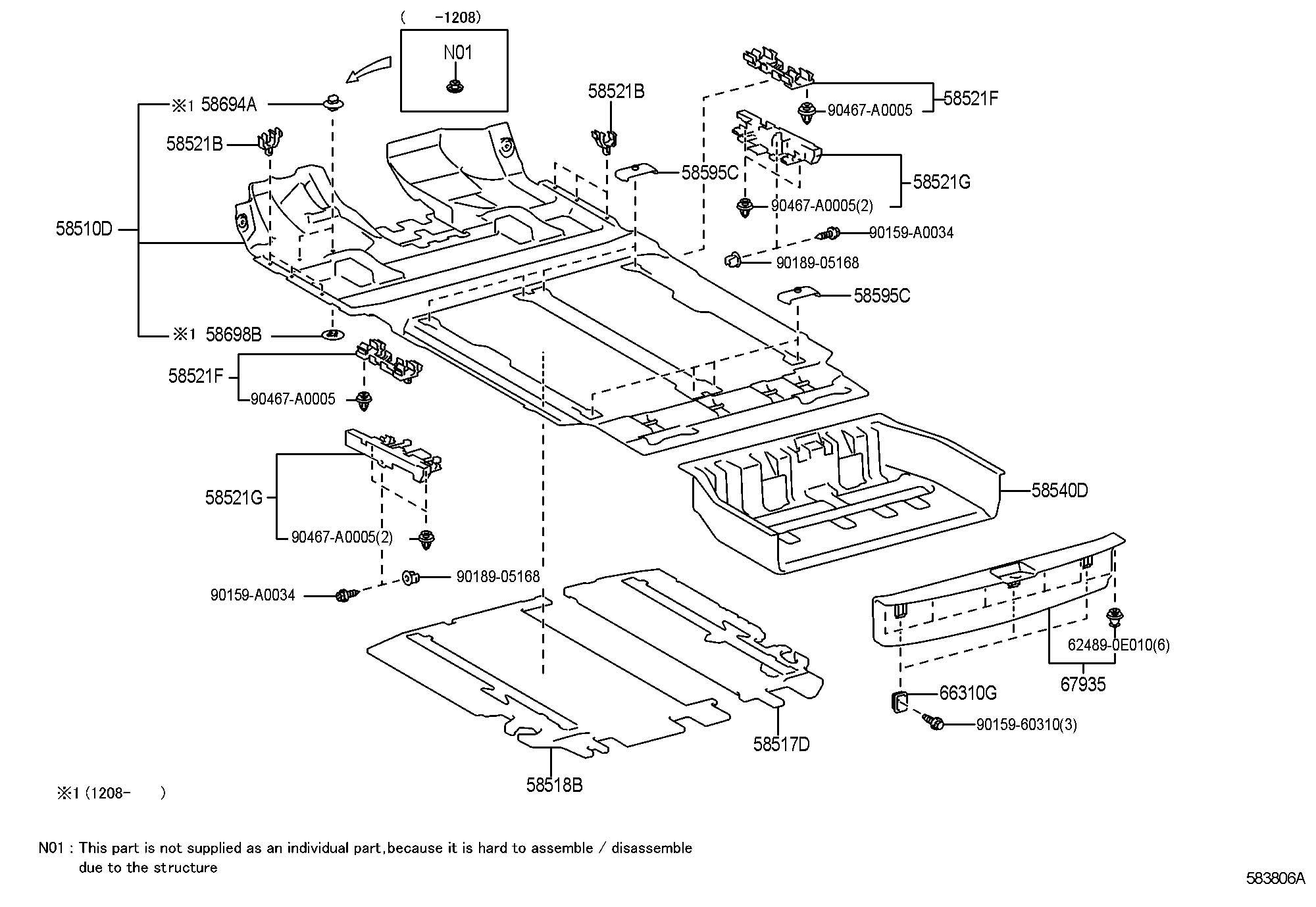 Toyota Sienna Mat Rear Floor No 2 Mat Rr Floor No 2