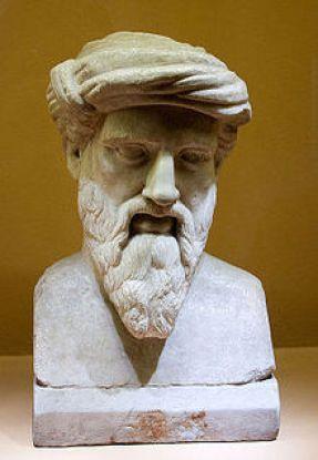pitágoras busto piedra LAS HABAS Y PITÁGORAS: MITOS Y LEYENDAS