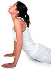 Woman performing Yoga.