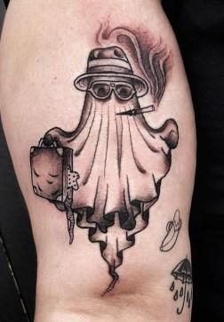 Johnny Vampotna geek peau halloween ghost fantome tattoo