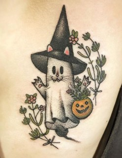 Johnny Vampotna geek peau halloween ghost fantome tattoo