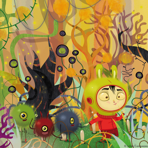 illustration colorée dans un décor