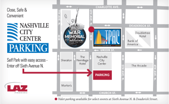 TPAC Downtown Parking Map