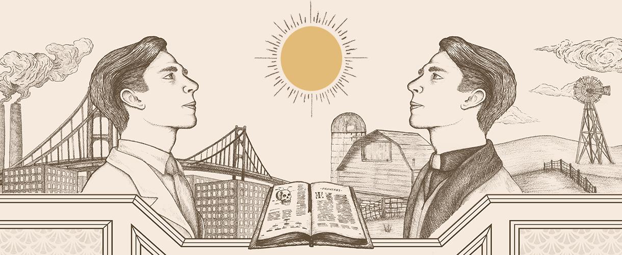 two cartoon men looking at sun