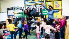 Teaching artist and teachers engage students