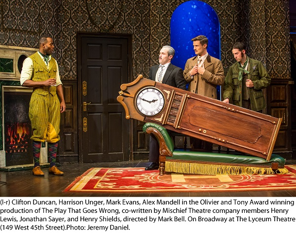Clifton Duncan, Harrison Unger, Mark Evans, Alex Mandell in the Olivier and Tony Award winning production of The Play That Goes Wrong, on Broadway at the Lyceum Theatre. Photo by Jeremy Daniel.